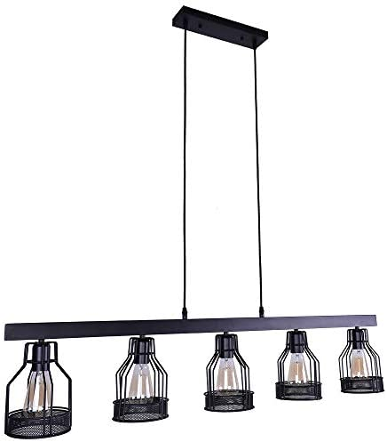 OYIPRO Kitchen Island Light, 5 Lights Pendant Light Metal Wire Cage Hanging Lamp Industrial Ceiling Light Fixture E26 Bulb Base
