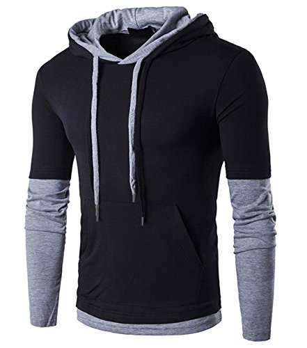 SIR7 Men's Stylish Hooded T Shirt Casual Long Sleeve Hipster Hip Hop Hoodie Shirts Black M by SIR7