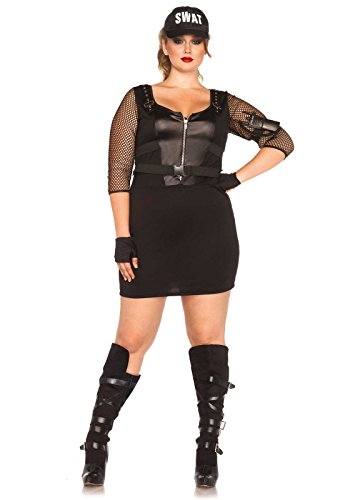 Swat Officer Costumes (Leg Avenue Women's Plus-Size 5 Piece Swat Officer Costume, Black, 1X)