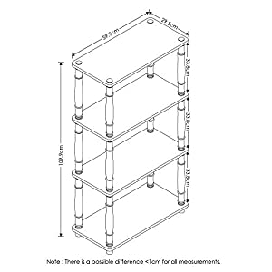 Furinno Turn-N 4-Tier Multipurpose Shelf Display Rack with Classic Tubes, Light Cherry/Black