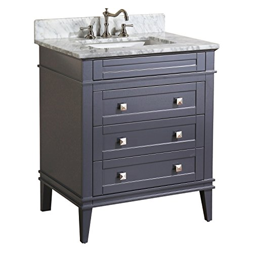 Kitchen Bath Collection KBC-L30GYCARR Eleanor Bathroom Vanity with Marble Countertop, Cabinet with Soft Close Function & Undermount Ceramic Sink, 30