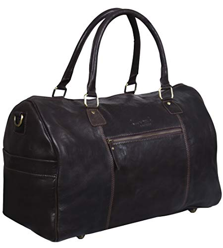 Genuine Brown Leather Overnight Travel Duffle Carry On Bag