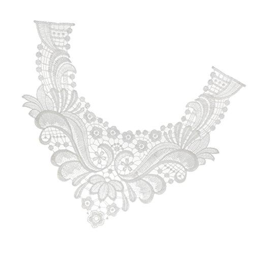 Women's Fashion Venise Collar Applique Neckline Patches White