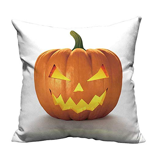 YouXianHome Sofa Waist Cushion Cover Scary Jack O Lantern Halloween Pumpkin with Candle Light Inside,d Render Decorative for Kids Adults(Double-Sided Printing) 21.5x21.5 -