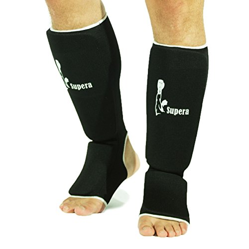 Supera Schienbeinschutz Schienbein Fußschutz Kampfsport MMA Thaiboxen Kickboxen (schwarz, Größe senior)