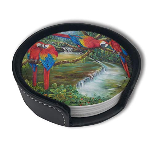 PDUOW Parrots Scenic Painting Coasters for Drinks,PU Leather Coasters with Holder,Protect Furniture from - Parrot Jar