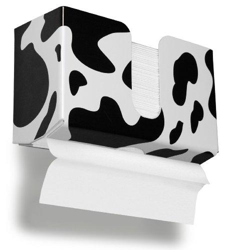 (TrippNT 51341 Cow Pattern Plastic Dual Dispensing Paper Towel Holder, 10 7/8