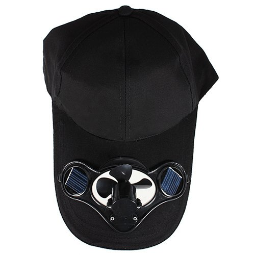 TOOGOO(R)Summer Outdoor Solar Sun Power Hat Cap Cooling Cool Fan for Golf Baseball Sport - Black (Cooling Fan Solar Cap)