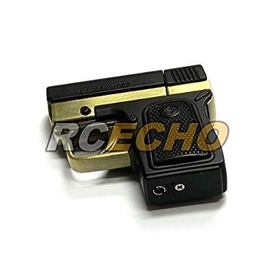 10 pcs x Aomai AM-073 King of Gun Piezo Jet Flame Gas Lighter (Black/Gold) L005C