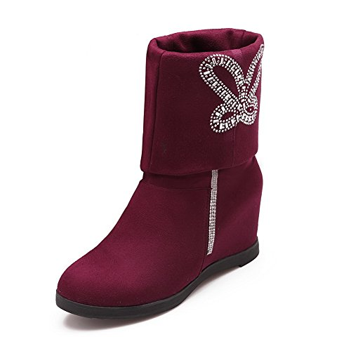 1TO9 Ladies Color Matching Thick Bottom Heel Heighten Inside Metal Ornament Purple Frosted Boots - 4.5 B(M) US