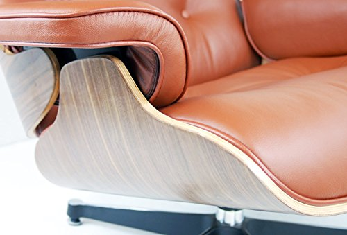 Poltrona Charles Eames Prezzo.Platinum Premium Brown Leather Lounge Chair Ottoman Walnut Charles