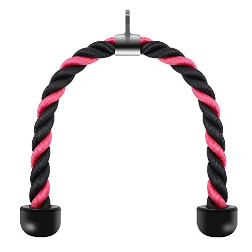 (STARTOSTAR Tricep Rope Double Grip Pull Down Bicep Cable Attachment Exercises Black and Red Nylon 27.5