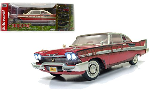 (NEW DIECAST TOYS CAR AUTO WORLD 1:18 SILVER SCREEN MACHINES - CHRISTINE - 1958 PLYMOUTH FURY - FOR SALE VERSION AWSS119)