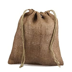 12 x 14 Burlap Jute Favor Party Gift Bags with Drawstring (Pack of 10) - Natural by AK TRADING CO.