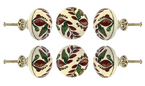 Set of 6 Ceramic Large Nargo Cabinet Drawer Knobs Kitchen Cupboard Door Knob Dressser Wardrobe Pull by Trinca-Ferro