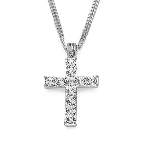 Silver Crystal Cross Pendant Necklace, Micro Cross Pendant 20 inch Wheat Chain