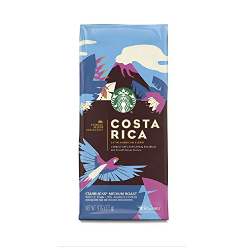 Select Whole Bean - Starbucks Premium Select Collection, Costa Rica Latin American Blend Medium Roast Coffee, Whole Bean, 6 Bags of 9 oz.
