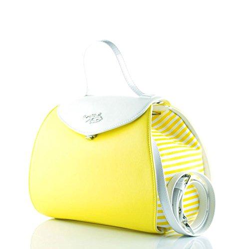 BRACCIALINI (Curvy) Bolso de Mano Bolso Bandolera Para Mujer B10301 Sintética, Diseño de Rayas amarillo