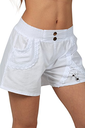 Women Elastic High Waist Lace Shorts White - 3