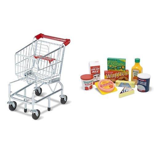 Doug Fridge Food (Melissa & Doug Shopping Cart and Melissa & Doug Fridge Food Set Bundle)