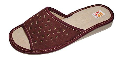 Bosaco Dames Comfort Lederen Slip Op Slippers Huisschoenen Bordeaux