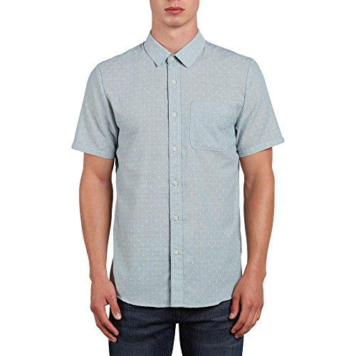 Volcom Men's Dobler Short Sleeve Button up Solid Shirt, Lead, (Button Up Woven Sport Shirt)