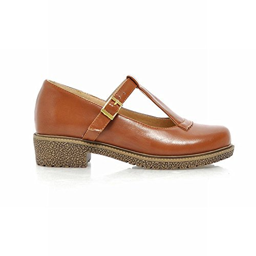 Carol Shoes Women's Casual Concise Mid Heel T-strap Court Shoes Dark Yellow JiEHTWTG