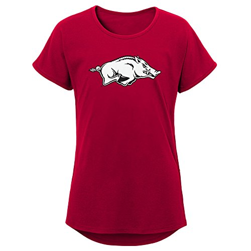 Arkansas Razorback Apparel - NCAA Arkansas Razorbacks Youth Girls Primary Logo Dolman Tee, Youth Girls Medium(10-12), Dark Red