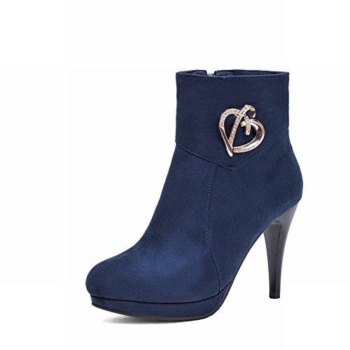 Latasa Mujeres Elegant Stiletto Plataforma De Tacón Alto Botas De Vestir Hasta El Tobillo Azul