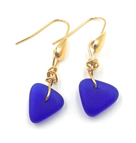 Cobalt Blue Sea Glass Earrings with Charming Hand-Tied Knot on Gold-Plated Teardrop Hooks