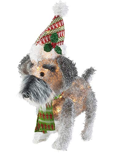 Everstar, Ltd. Holiday Time 25-Inch Light-Up Fluffy Schnauzer (Christmas Dog Decoration Light Up)