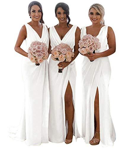 MARSEN Slit Bridesmaid Dresses Long V-Neck Chiffon Pleated Beach Wedding Party Dress 2019 White Size 10