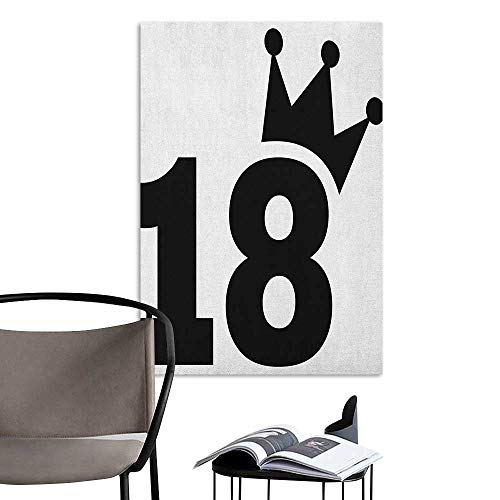 (Home Decor Decals Mural 18th Birthday Cartoon Soccer Jersey Seem Bold 18 Number Party Sports Playing Art Print Black and White Kitchen Room Wall W8 x H10)