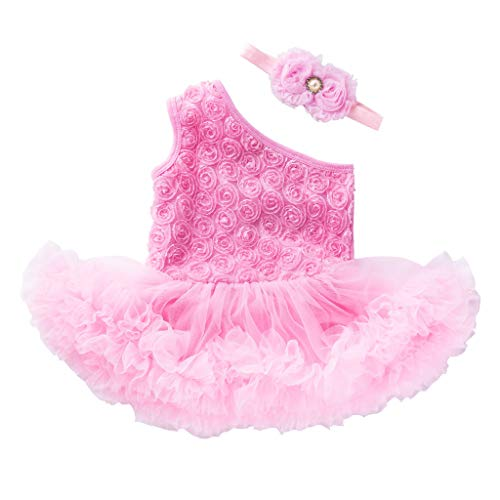 FEITONG Baby Clothes, 2 PCS Toddler Baby Girls Sleeveless Flower Dress +Headband Outfits Set Pink