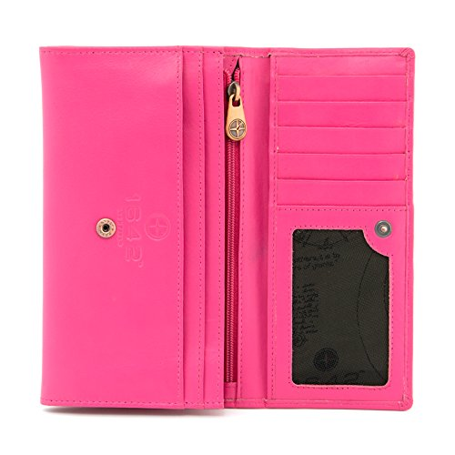 Slots Flap Inside Credit Purse Fuchsia Zip Soft Purple with Style Note Leather Card 17 Nappa Large Sections Over 1030 1642 nY1qv87Y