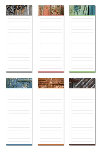 6 Magnetic Notepads - Rustic Design Series - 6 Different Designs on 3.5