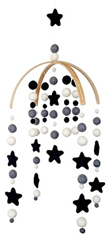 - Tik Tak Design Co. Baby Crib Mobile - 100% NZ Wool Colored Felt Ball Mobile for Your Boy or Girl Babies Bed Room - Designer Colors to Match Your Nursery and Delight Your Child (Monochrome)