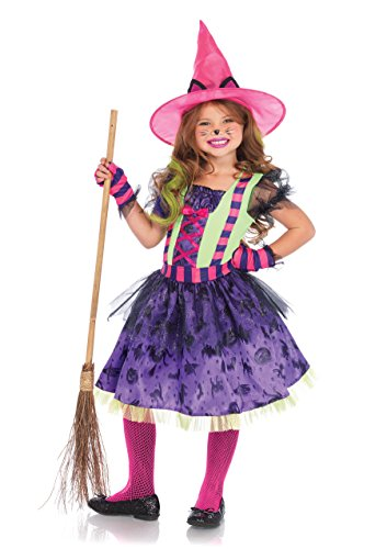 Witch Child Neon Costume (Leg Avenue Children's Black Cat Witch)
