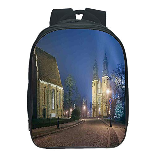 Polychromatic Optional Kids School Backpack,Gothic,Gothic Medieval Middle Age Churches Cathedral Island with Night Lights Photo Print,Navy Brown,for Kids,Personalized Design.13.0''x 9.8''x 5.9'' by iPrint