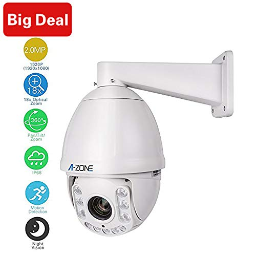 AHD PTZ Dome Camera,A-ZONE 1080P 18x Optical Zoom, 2.0MP Waterproof Night Vision up to 100M, Indoor/Outdoor CCTV Surveillance Camera, High Speed Security Camera Coaxial System, Free ()