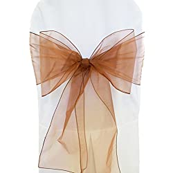 "Wedding Linens Inc. (10 PCS) 7.5"" x 108"" Organza Chair Sashes / Sheer Organza Chair Sash Bows Chair Bow Ties for Wedding Decoration Party Banquet Events - COPPER"