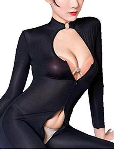 Sheer Opaque Front Zip Vertical Stripes Spandex Zentai Catsuit Bodysuit Night Club Black
