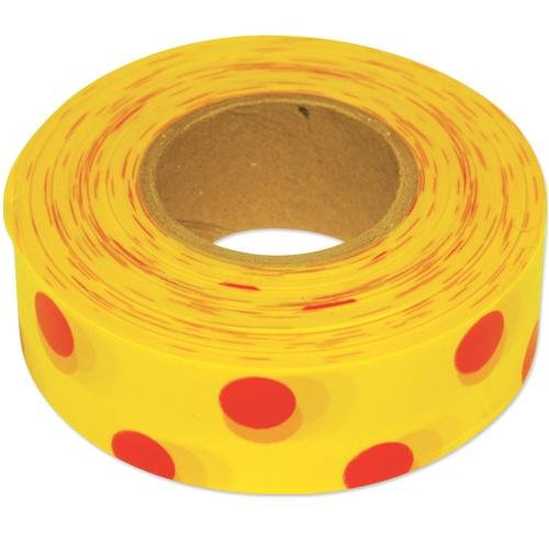 Flagging Tape, 1-3/16 Inches Wide (Red Dots on Yellow, 300 Foot Roll)