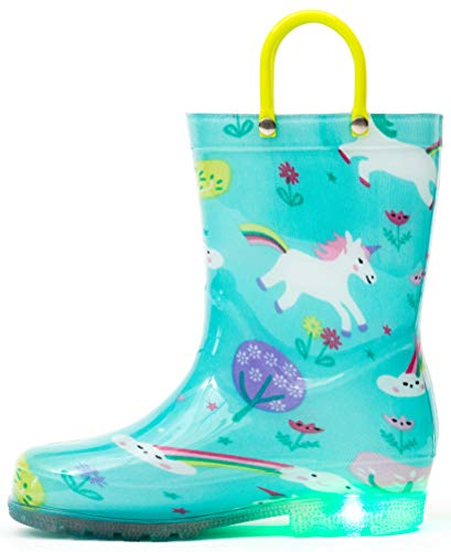 Outee Toddler Girls Kids Light Up Rain Boots Printed Waterproof Shoes Lightweight Cute Green Unicorn with Easy-On Handles and Insole (Size 7,Green)