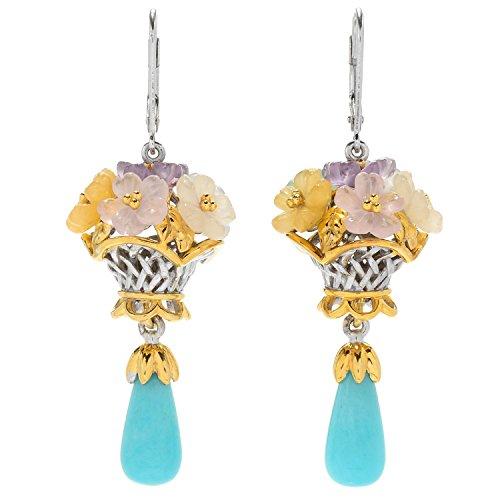 Michael Valitutti Palladium Silver Amazonite & Multi Gemstone Carved Flower Dangle - Beads Flower Gemstone Carved
