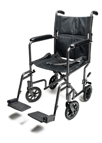 Everest & Jennings Lightweight Aluminum Transport Chair with 5 Inches Swivel Casters, 19 Inches Seat, Silver EJ784-1