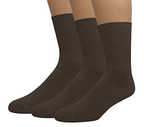 (EMEM Apparel Women's Ladies Diabetic Circulatory Non-Binding Top Loose Top Casual Crew Mid Calf Cotton Seamless Toe Socks 3-Pack Brown 9-11)