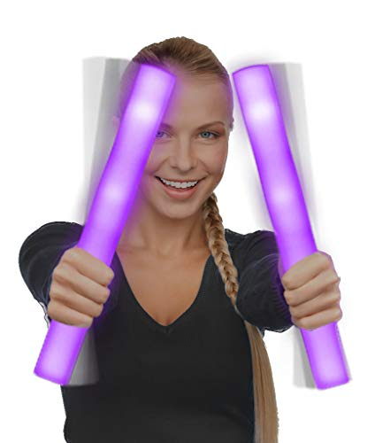 Fun Central AQ077, 6 Pack, 16 Inches Purple LED Foam Stick Baton Supreme, LED Light Sticks, Glow in The Dark Foam Party Sticks, Glow Foam Wand, Party Lights Toys, LED Party Pack for Concerts Rave -