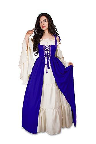 Mythic Renaissance Medieval Irish Costume Over Dress & Cream Chemise Set (S/M, Royal Blue) -