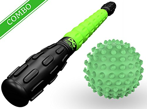 Physix Gear Sport Muscle Roller Stick – Best Durable Massage Tool for Cramping Legs, Sore Muscles, Back Pain, Calf Cramps, Trigger Points & Myofascial Relief – Top Rated Massager (Grn Stick + Ball)